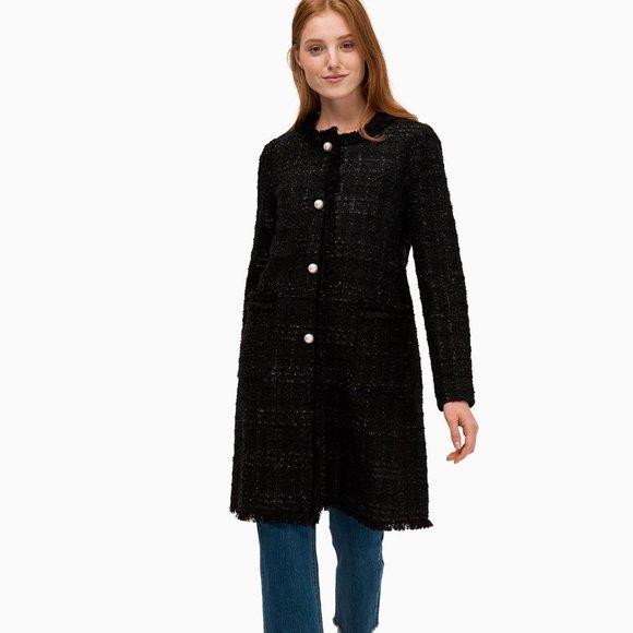 KATE SPADE Sparkle Tweed Black Coat NEW